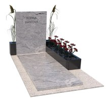 Jednohrob z granitu s kvetináčmi v tvare L